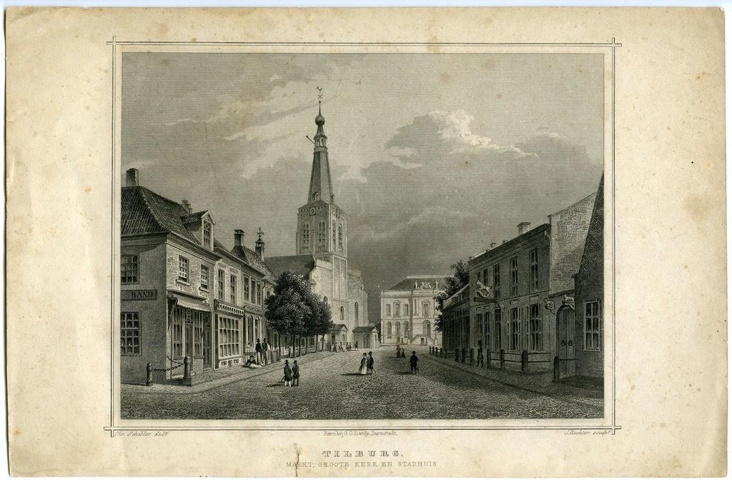19e eeuwse prent waarop het stadhuis voorzien is van beelden Deze situatie klopt echter niet met de werkelijkheid De beelden werden pas geplaatst in 1905 Collectie Regionaal Archief Tilburg 604816